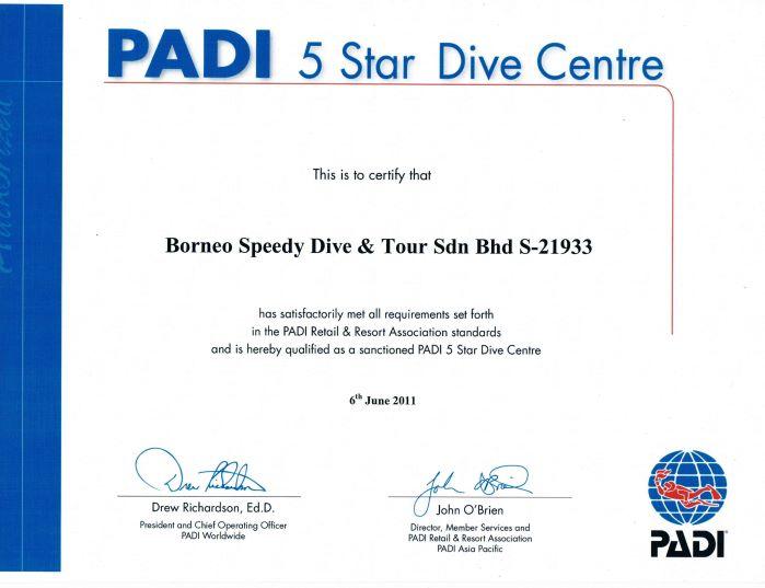 Certificate - PADI 5 Star Dive Centre